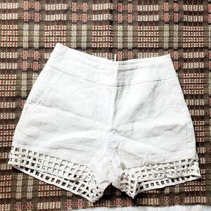 BEBE Womens White Linen High Waisted Mini Short